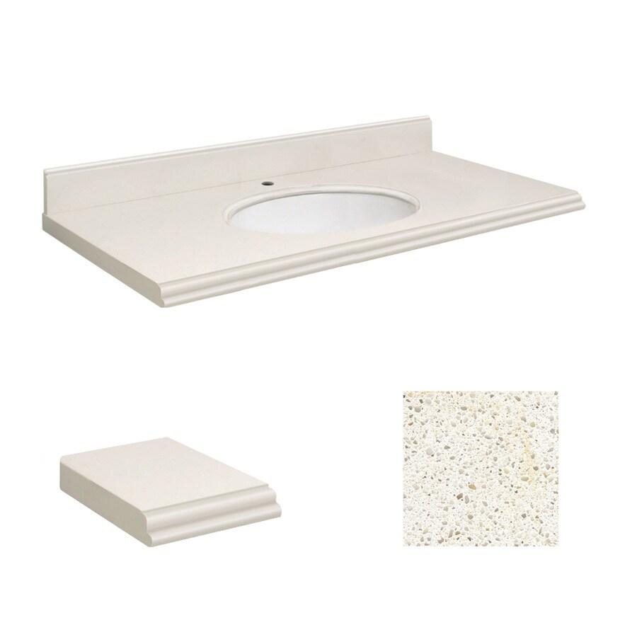Transolid Milan White Quartz Undermount Single Bathroom Vanity Top (Common: 43-in x 22-in; Actual: 43-in x 22-in)
