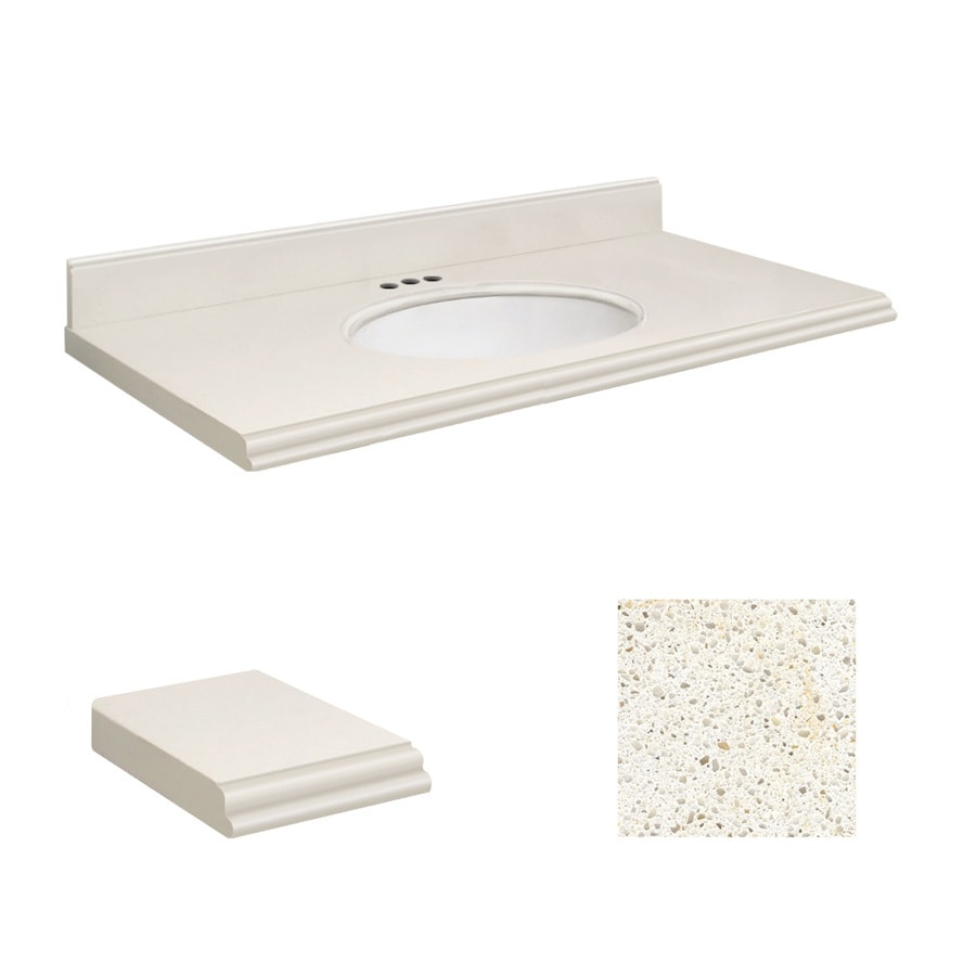 Transolid Milan White Quartz Undermount Single Sink Bathroom Vanity Top  (Common: 43 In