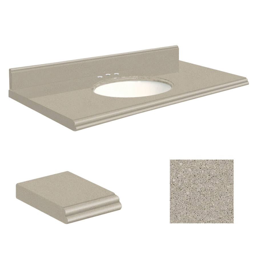 Transolid Olympia Gray Quartz Undermount Single Bathroom Vanity Top (Common: 43-in x 22-in; Actual: 43-in x 22-in)