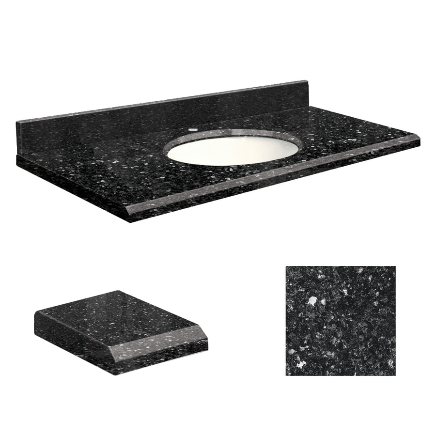 Transolid Notte Black Quartz Undermount Single Sink Bathroom Vanity Top (Common: 49-in x 19-in; Actual: 49-in x 19-in)