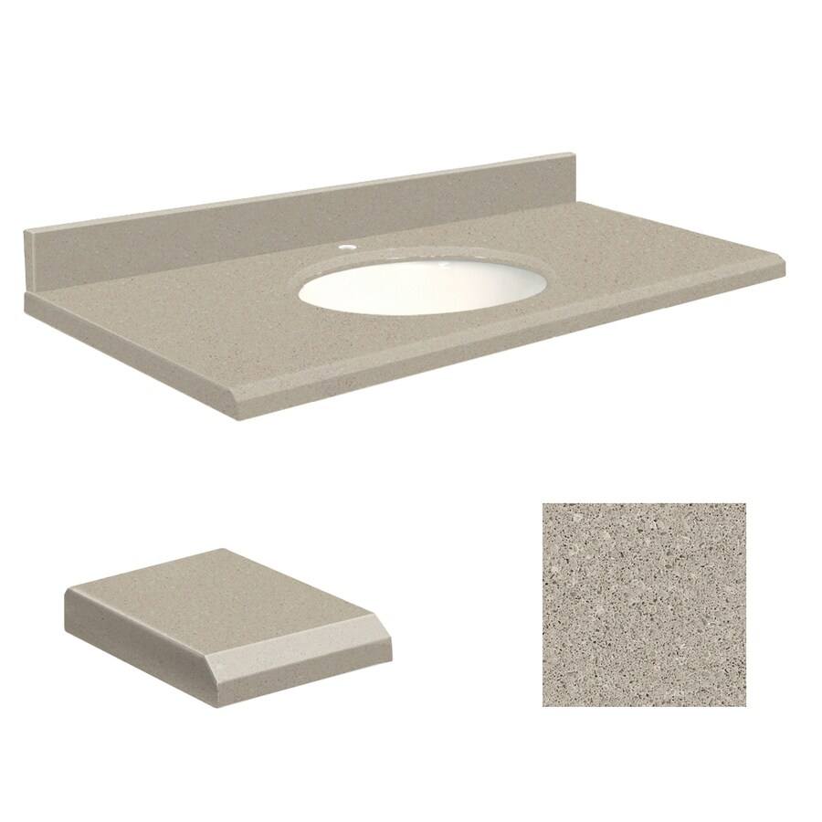 Transolid Olympia Gray Quartz Undermount Single Sink Bathroom Vanity Top (Common: 49-in x 19-in; Actual: 49-in x 19-in)