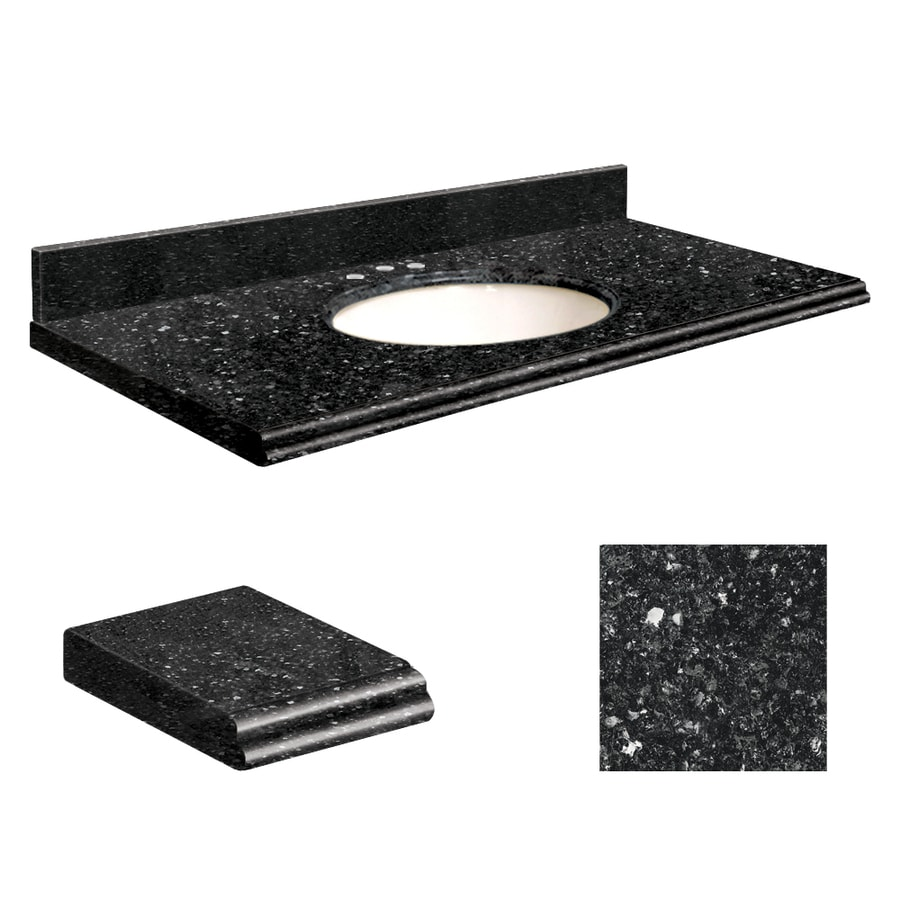Transolid Notte Black Quartz Undermount Single Sink Bathroom Vanity Top (Common: 49-in x 19-in; Actual: 49-in x 19.25-in)