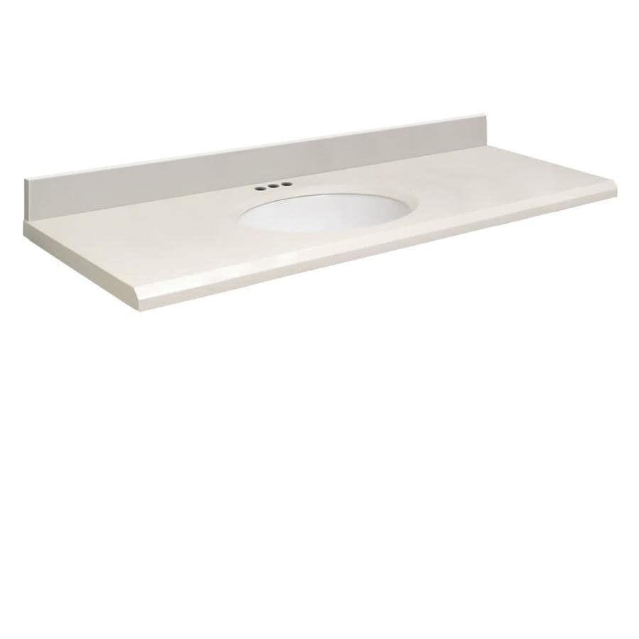 Transolid Milan White Quartz Undermount Single Sink Bathroom Vanity Top (Common: 61-in x 22-in; Actual: 61-in x 22.2500-in)