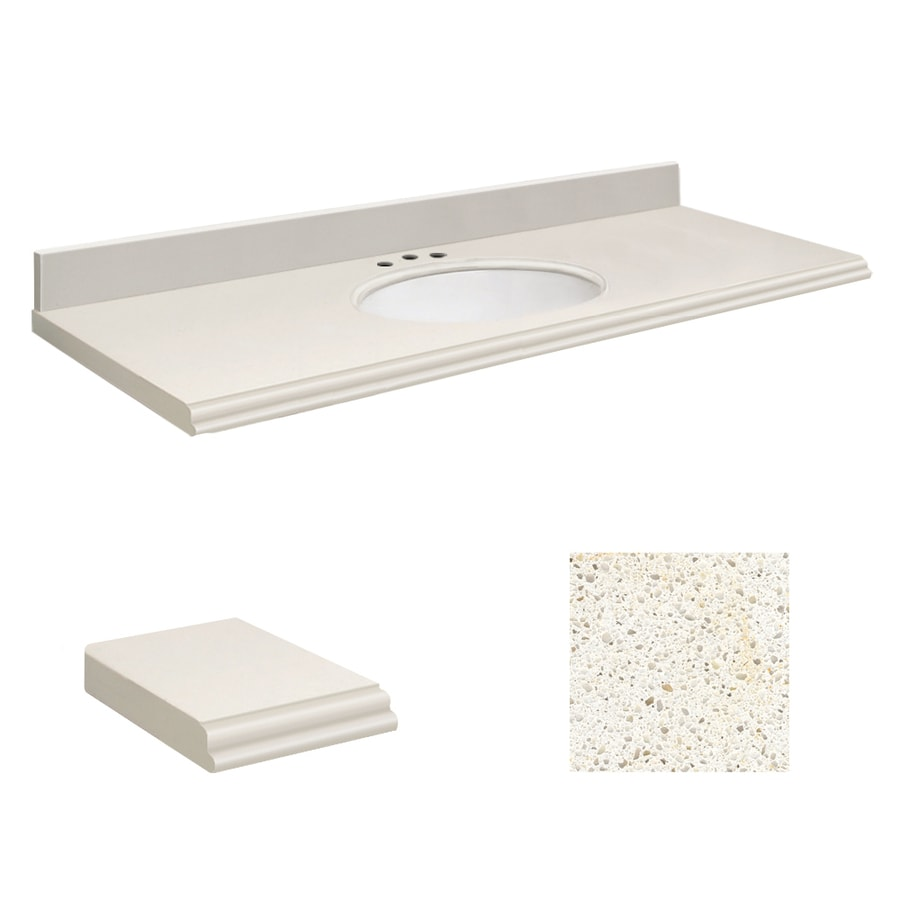 Transolid Milan White Quartz Undermount Single Sink Bathroom Vanity Top (Common: 61-in x 22-in; Actual: 61-in x 22-in)