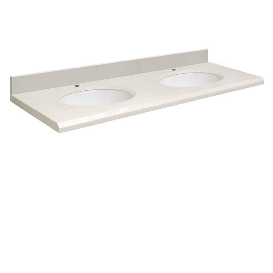 Shop transolid milan white quartz undermount double sink for Bathroom quartz vanity tops