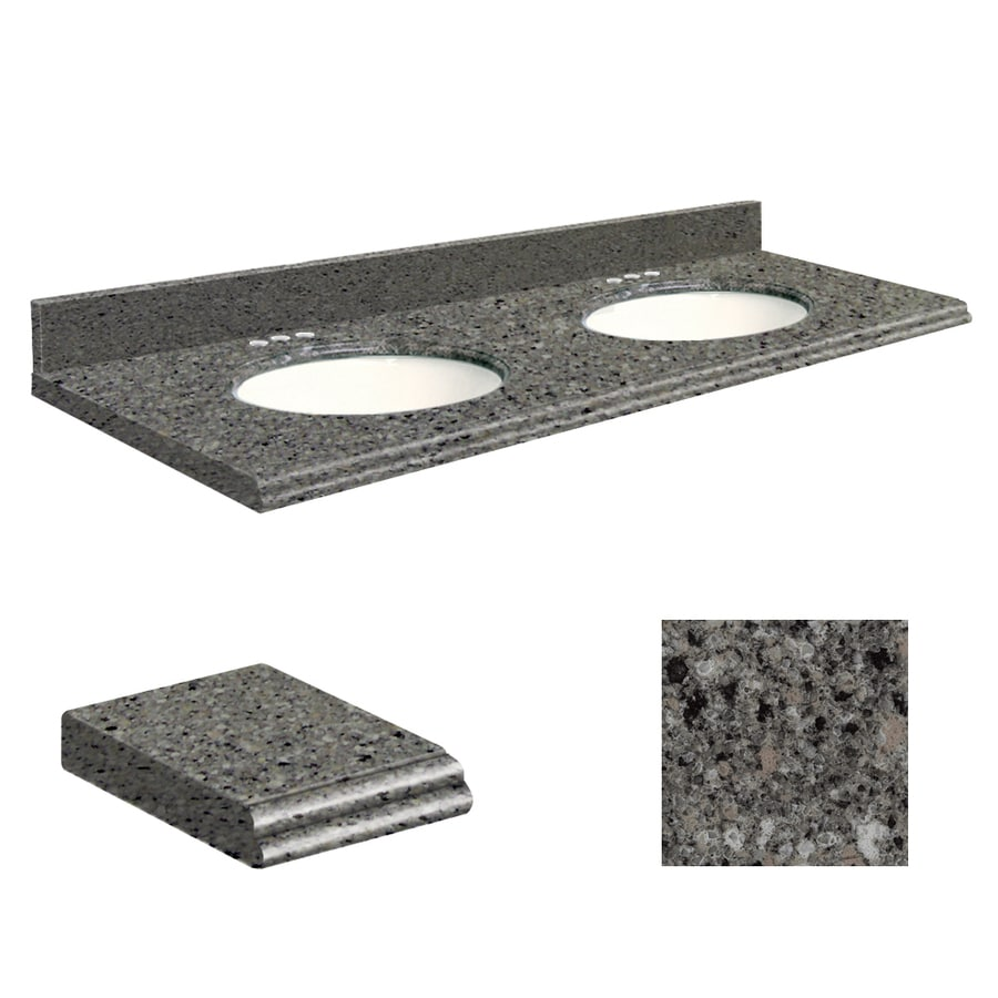 Transolid Canterbury Stone Quartz Undermount Double Sink Bathroom Vanity Top (Common: 61-in x 22-in; Actual: 61-in x 22-in)