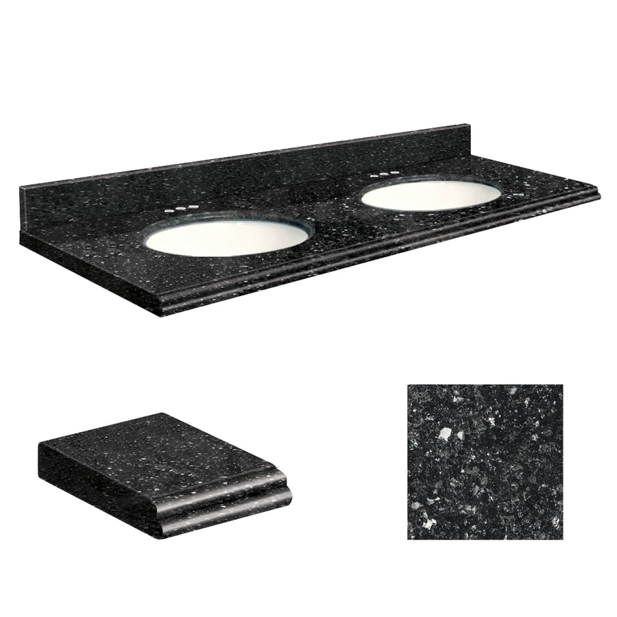 Vanity top common 61 in x 22 in actual 61 in x 22 in at lowes com - Shop Transolid Notte Black Quartz Undermount Double Sink