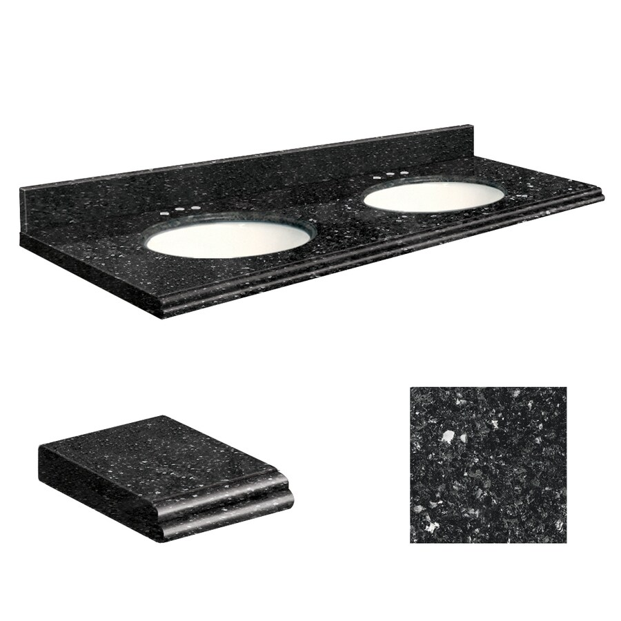 Transolid Notte Black Quartz Undermount Double Sink Bathroom Vanity Top (Common: 61-in x 22-in; Actual: 61-in x 22-in)
