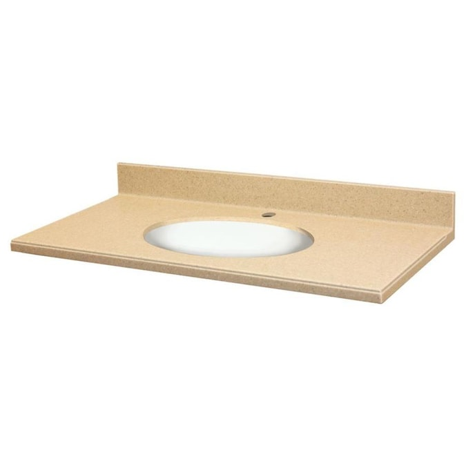 Transolid Ashley Sandstone And White Solid Surface Integral Single Sink Bathroom Vanity Top Common 31 In X 22 In Actual 31 In X 22 In In The Bathroom Vanity Tops Department At Lowes Com