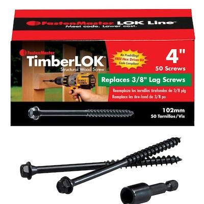 #0 x 4-in Black Ecoat Hex-Head Interior/Exterior Structural Wood Screws  (50-Count)