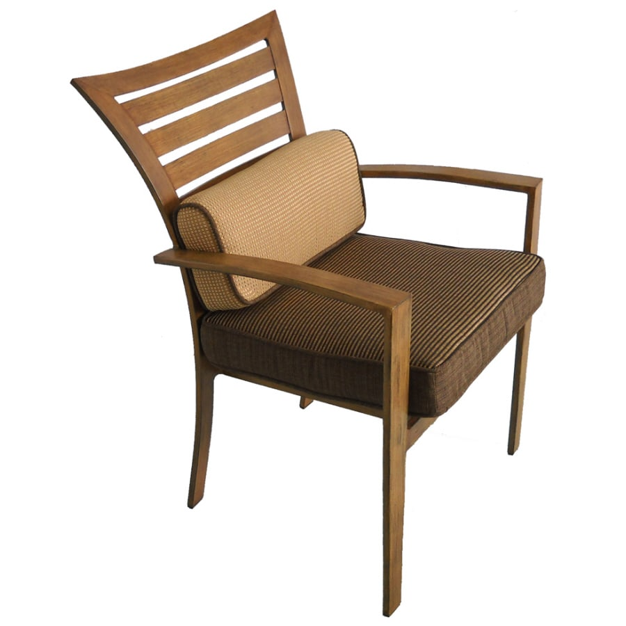 Shop Allen Roth Wood Grain Set Of 4 Outdoor Dining Chairs With Cushions At