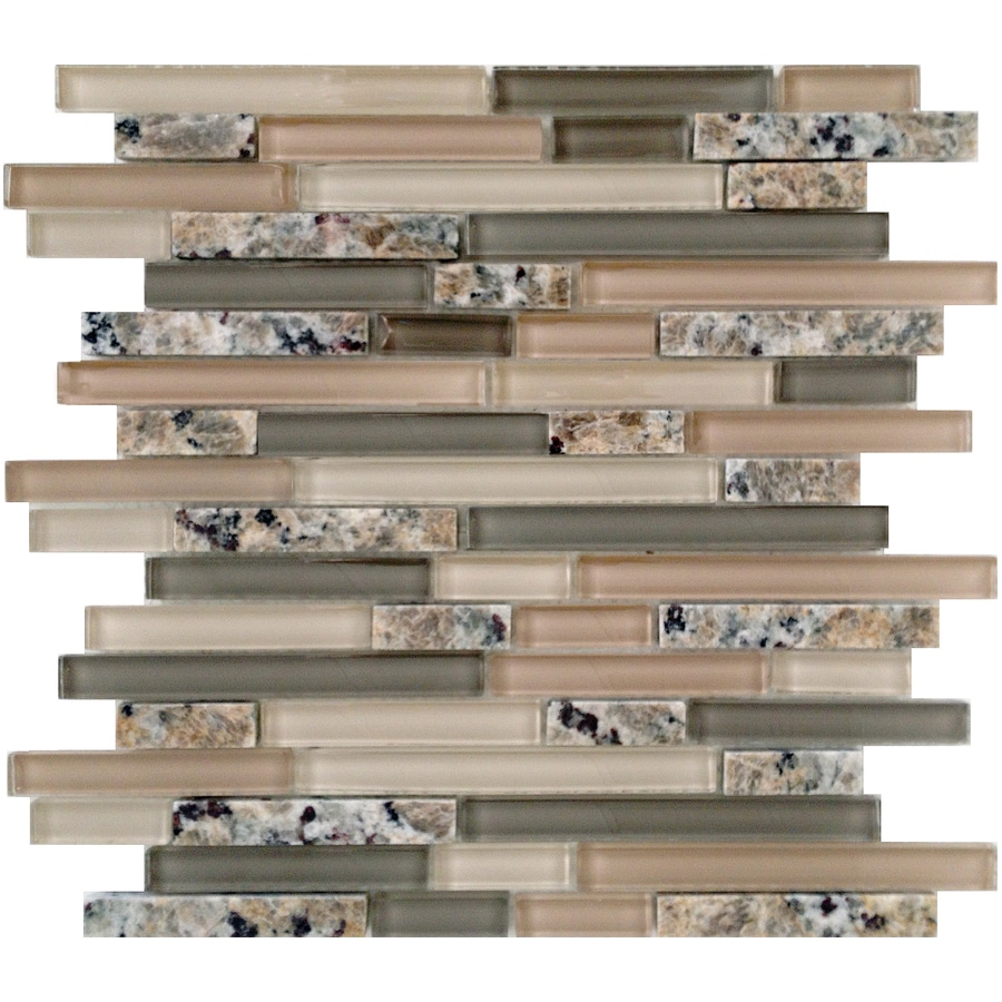 EPOCH Architectural Surfaces Spectrum Desert Gold Linear Mosaic Stone and Glass Granite Wall Tile (Common: 12-in x 14-in; Actual: 11.81-in x 11.93-in)