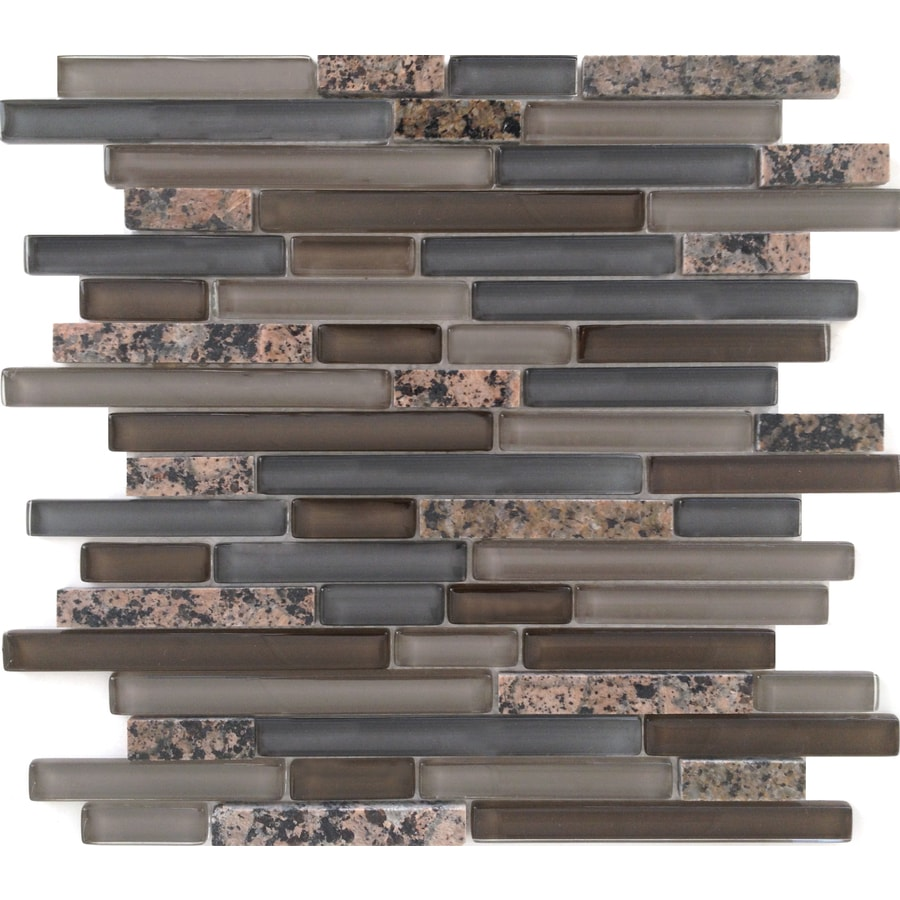 EPOCH Architectural Surfaces Spectrum Mixed Brown Linear Mosaic Stone and Glass Granite Wall Tile (Common: 12-in x 14-in; Actual: 11.81-in x 11.93-in)