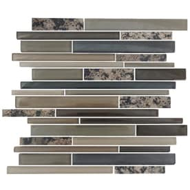 EPOCH Architectural Surfaces Granite and Glass Multicolor Beige 12-in x 14-in Stone And Glass Linear Mosaic Granite Deco Wall Tile (Common: 12-in x 14-in; Actual: 11.75-in x 11.65-in)