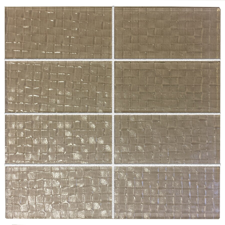 EPOCH Architectural Surfaces Grid Textured Glass 8 Pack Tan Wall Tile Common