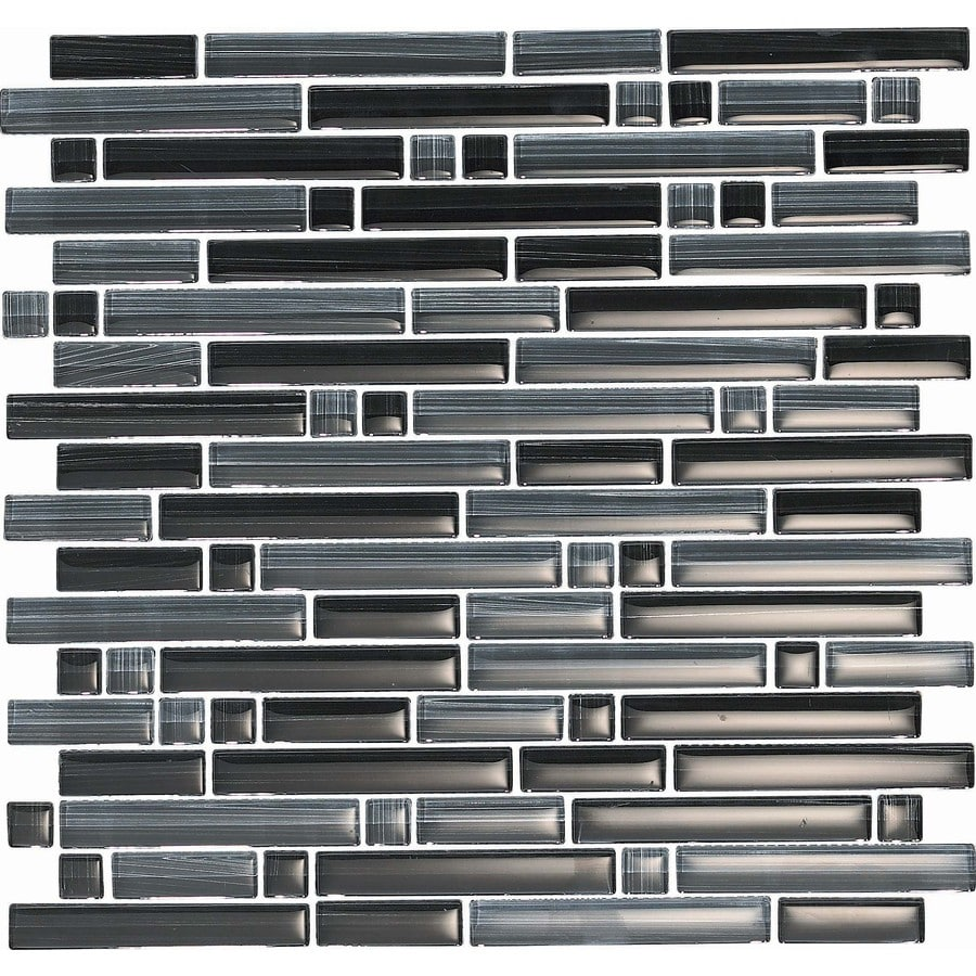 EPOCH Architectural Surfaces Brushstrokes 5-Pack Blacks Linear Mosaic Glass Wall Tile (Common: 12-in x 12-in; Actual: 11.75-in x 11.87-in)