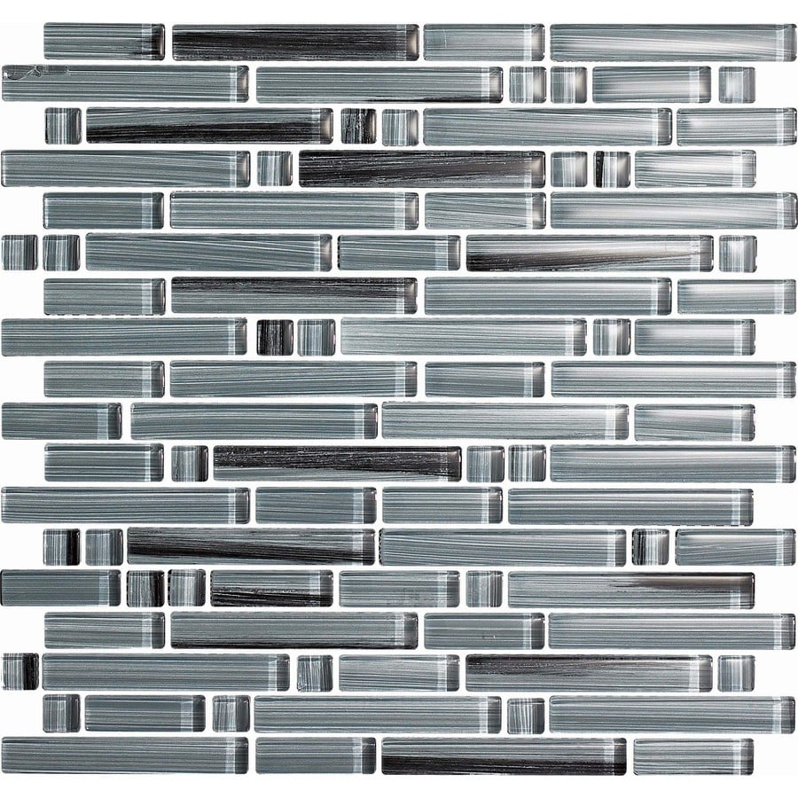EPOCH Architectural Surfaces Brushstrokes 5-Pack Grays Linear Mosaic Glass Wall Tile (Common: 12-in x 12-in; Actual: 11.75-in x 11.87-in)