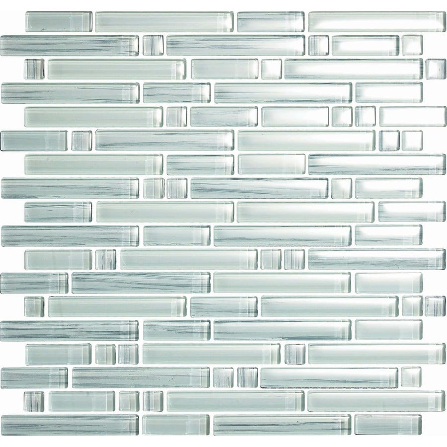 EPOCH Architectural Surfaces Brushstrokes 5-Pack Whites Linear Mosaic Glass Wall Tile (Common: 12-in x 12-in; Actual: 11.75-in x 11.87-in)
