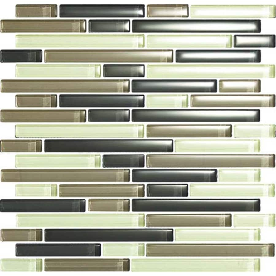 EPOCH Architectural Surfaces Color Blends Multi Green Glass Mosaic Indoor/Outdoor Wall Tile (Common: 12-in x 12-in; Actual: 11.75-in x 11.87-in)