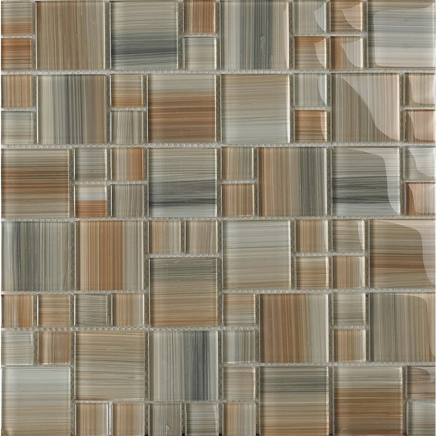 EPOCH Architectural Surfaces 12-in x 12-in Contempo Multicolor Glass Mosaic Wall Tile (Actuals 12-in x 12-in)