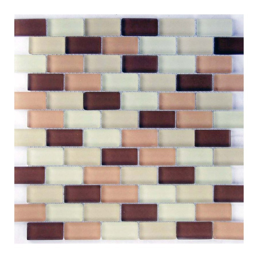 EPOCH Architectural Surfaces Desertz 5-Pack Browns/Tans Subway Mosaic Glass Wall Tile (Common: 12-in x 12-in; Actual: 11.65-in x 11.61-in)