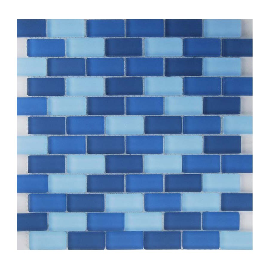 EPOCH Architectural Surfaces Oceanz 5-Pack Blues Subway Mosaic Glass Wall Tile (Common: 12-in x 12-in; Actual: 11.61-in x 11.65-in)