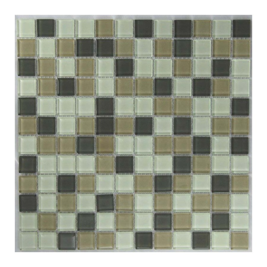 EPOCH Architectural Surfaces Oceanz 5-Pack Greens Uniform Squares Mosaic Glass Wall Tile (Common: 12-in x 12-in; Actual: 11.45-in x 11.45-in)