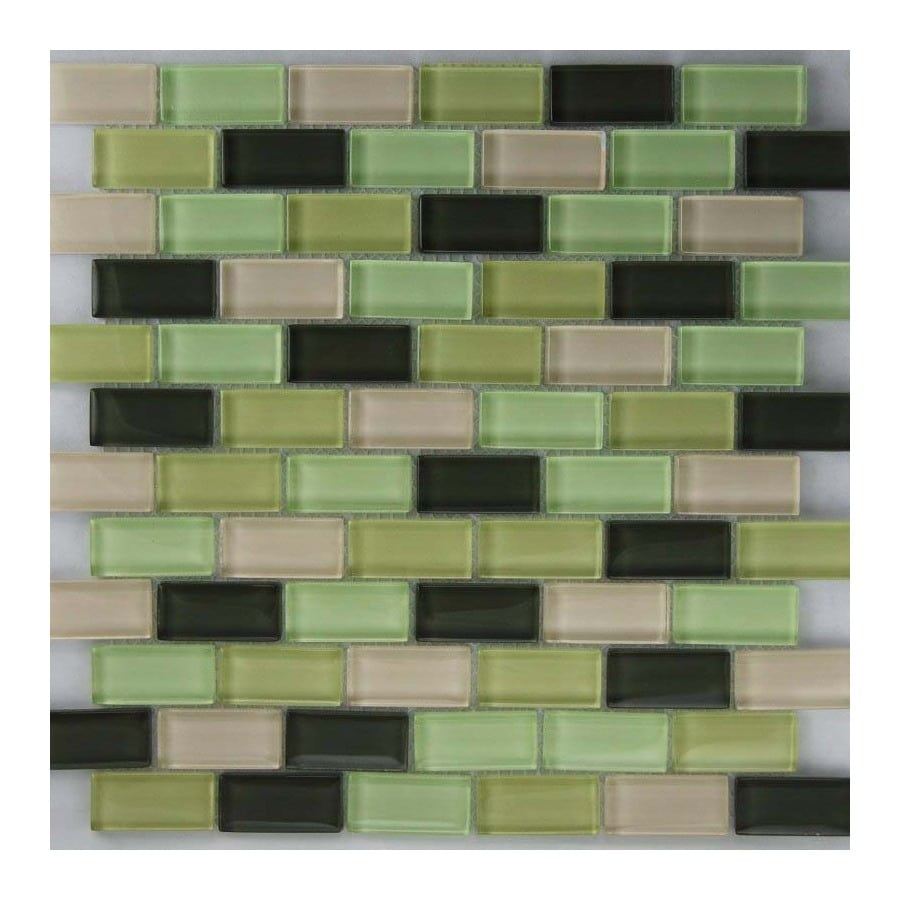 EPOCH Architectural Surfaces Riverz 5-Pack Greens Subway Mosaic Glass Wall Tile (Common: 12-in x 12-in; Actual: 11.61-in x 11.65-in)