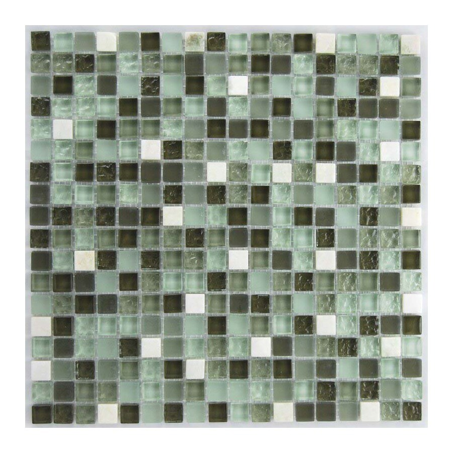 EPOCH Architectural Surfaces 5-Pack Oceanz Greens Glass Mosaic Square Wall Tile (Common: 12-in x 12-in; Actual: 11.81-in x 11.81-in)