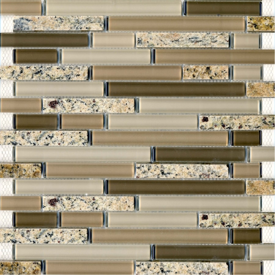 EPOCH Architectural Surfaces Spectrum Multi Linear Mosaic Stone and Glass Granite Wall Tile (Common: 12-in x 12-in; Actual: 11.75-in x 11.87-in)