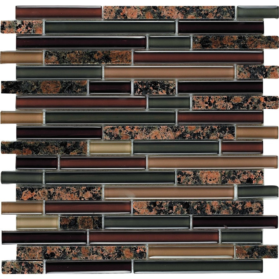 EPOCH Architectural Surfaces Riverz 5-Pack Browns/Tans Linear Mosaic Stone and Glass Granite Wall Tile (Common: 12-in x 12-in; Actual: 11.75-in x 11.87-in)