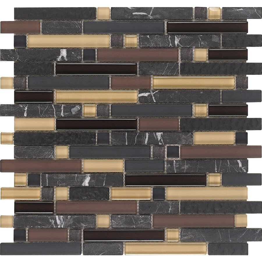 EPOCH Architectural Surfaces Varietals 5-Pack Multi Linear Mosaic Stone and Glass Marble Wall Tile (Common: 12-in x 12-in; Actual: 11.75-in x 11.87-in)