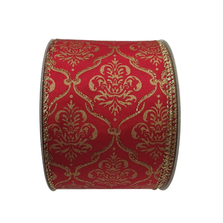 Holiday Living 2.5-in W x 30-ft L Multiple Damask Ribbon