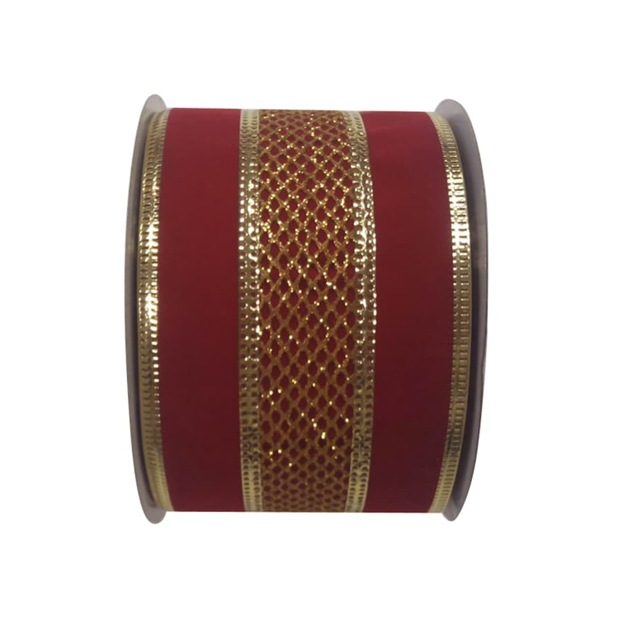 Holiday Living 2.5-in W x 30-ft L Red/Gold Mesh Ribbon
