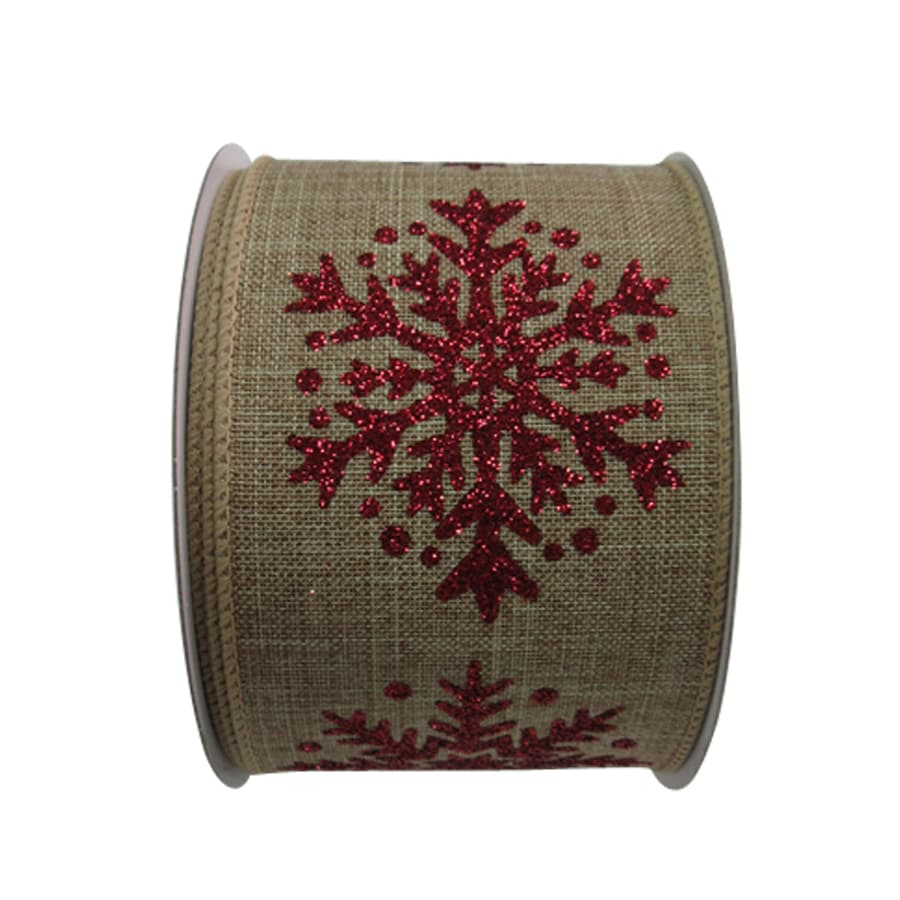 Holiday Living 2.5-in W x 0.062-in H Beige/Red Snowflake Ribbon