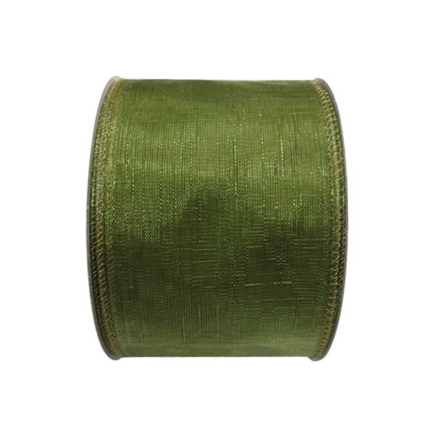 Holiday Living 2.5-in W x 30-ft L Green Sheer Ribbon
