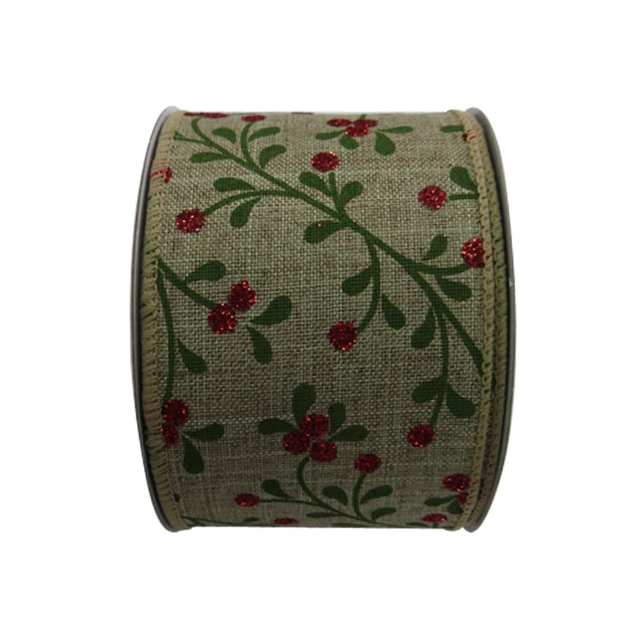 Holiday Living 2.5-in W x 30-ft L Multiple Floral Ribbon
