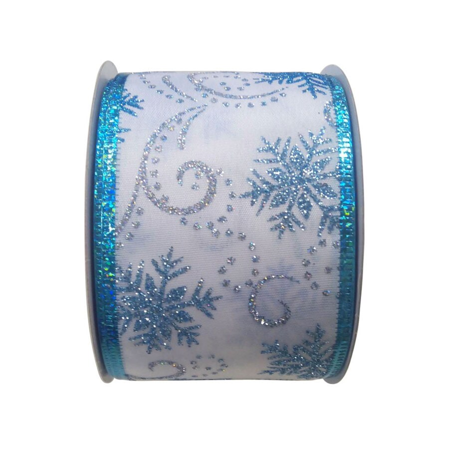 Holiday Living 30-ft L White/Blue/Silver Snowflake Ribbon