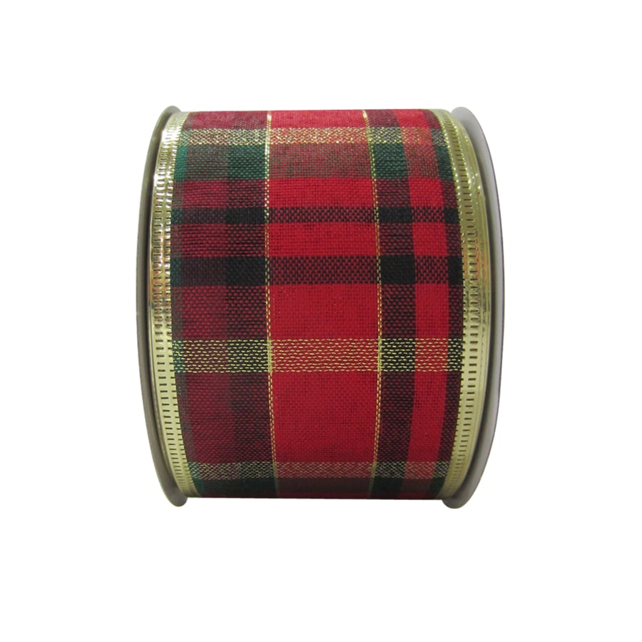 Holiday Living 2.5-in W x 30-ft L Red/Green/Gold Plaid Ribbon