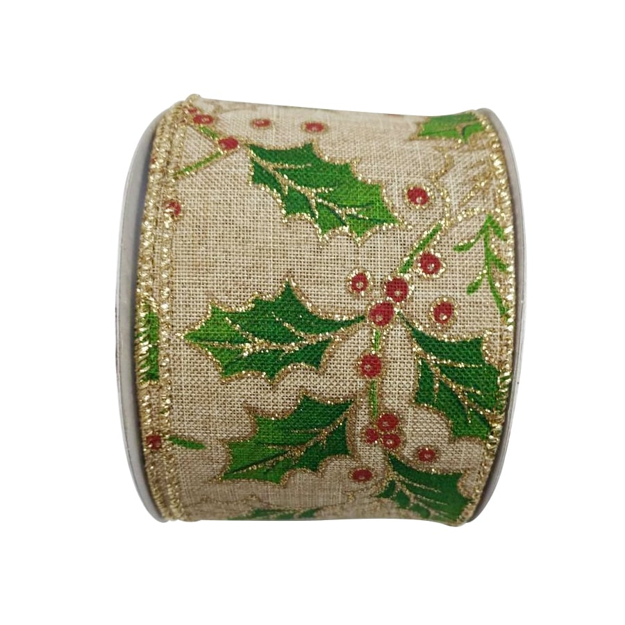 Holiday Living 2.5-in W x 0.062-in H Beige/Green/Red Holly Ribbon