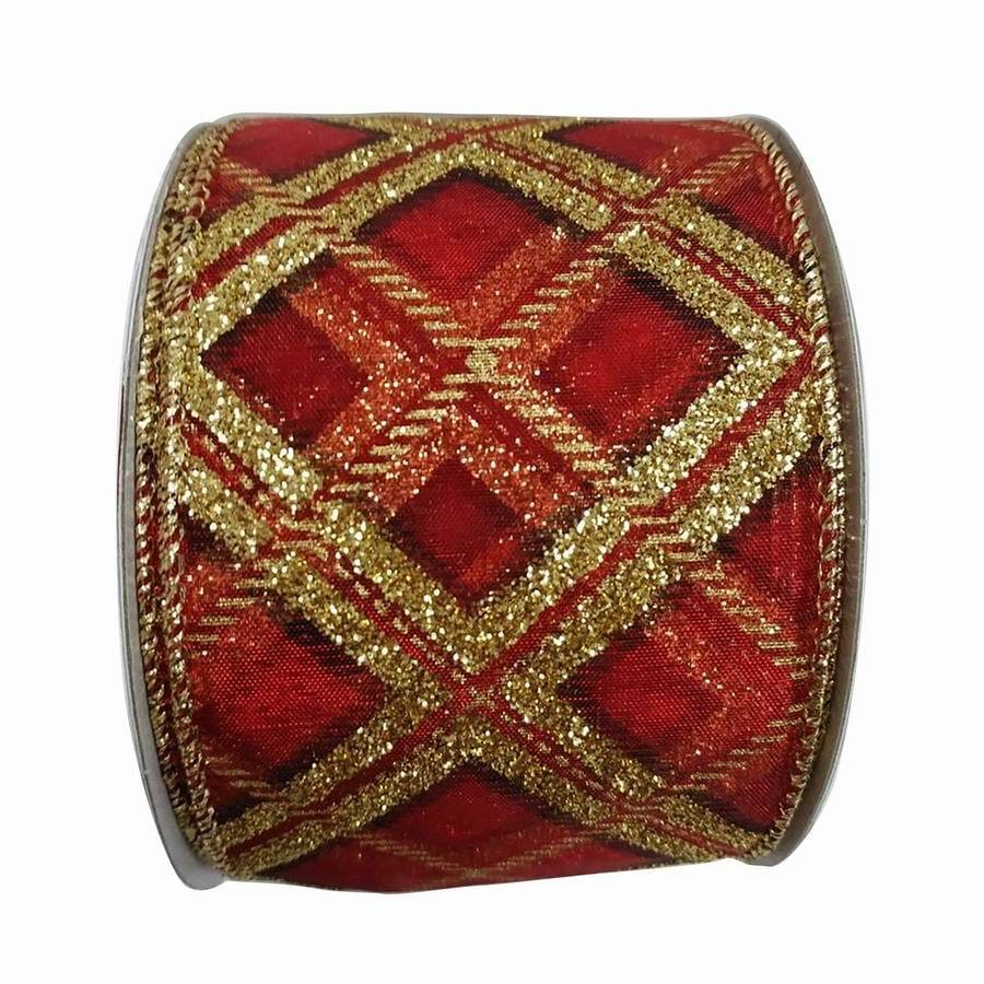 Holiday Living 2.5-in W x 30-ft L Red/Gold Plaid Ribbon