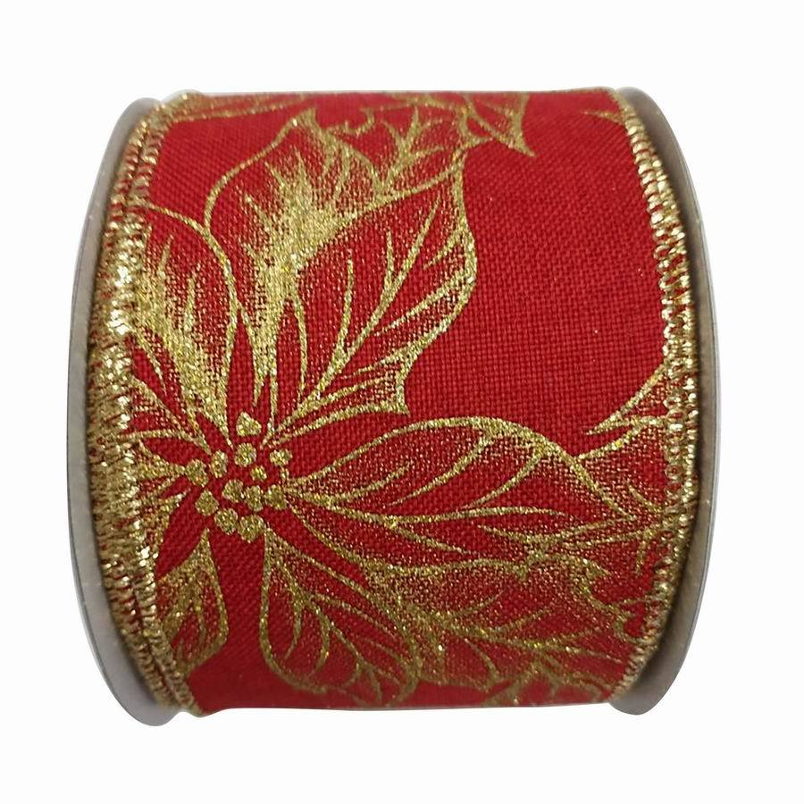 Holiday Living 2.5-in W x 30-ft L Red/Gold Floral Ribbon