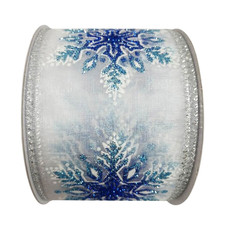 Holiday Living 2.5-in W x 30-ft L White/Blue/Silver Snowflake Ribbon
