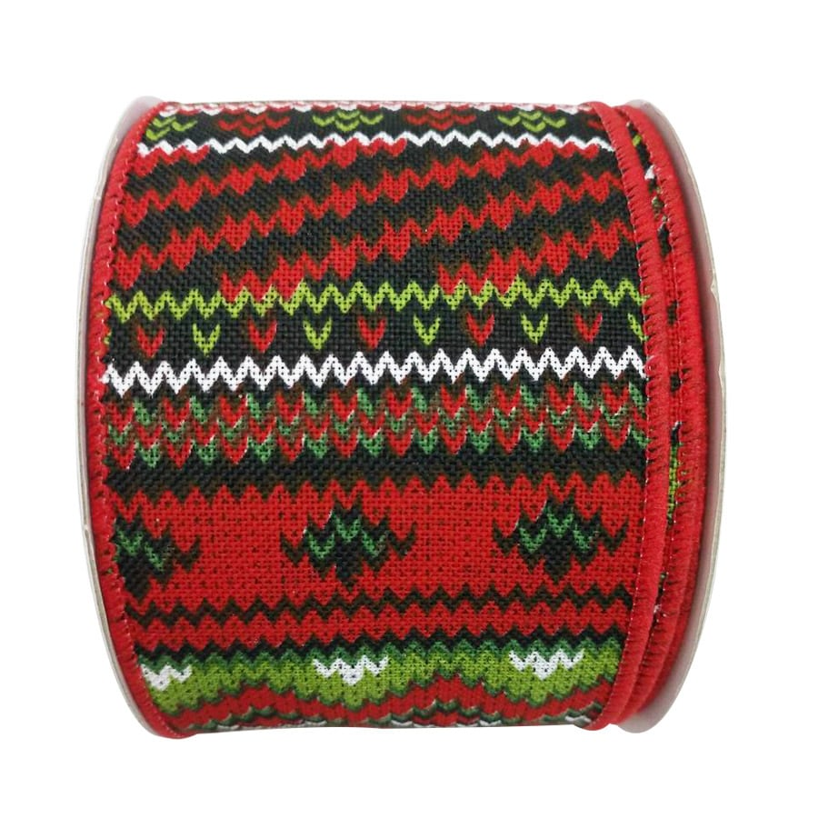 Holiday Living 2.5-in W x 30-ft L Red/Green/White Knit Ribbon