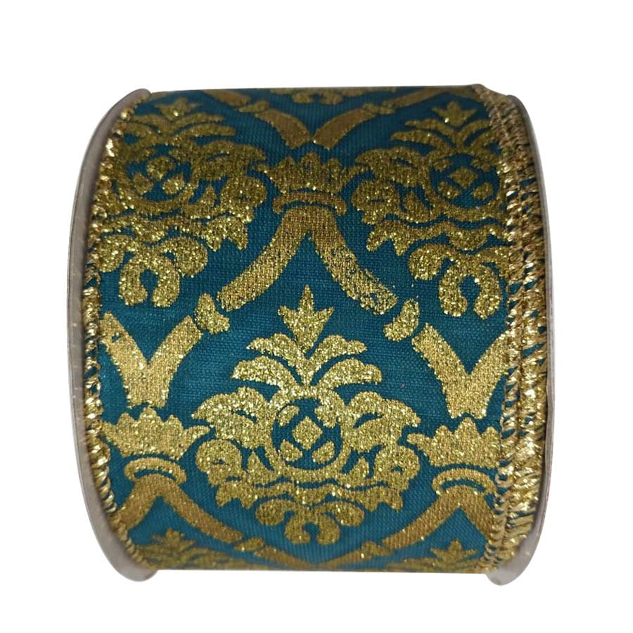 Holiday Living 2.5-in W x 0.062-in H Blue/Gold Damask Ribbon