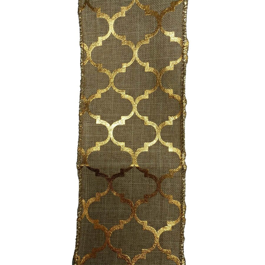 Holiday Living 2.5-in W x 30-ft L Beige/Gold Geometric Ribbon