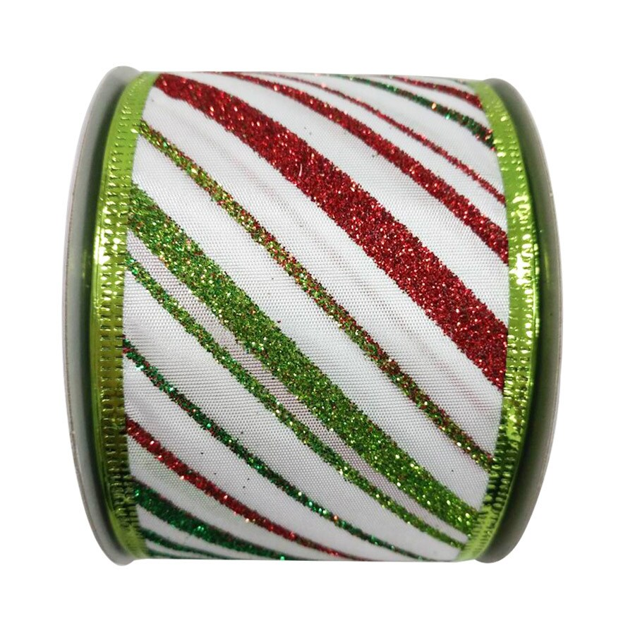 Holiday Living 2.5-in W x 30-ft L White/Red/Green Striped Ribbon