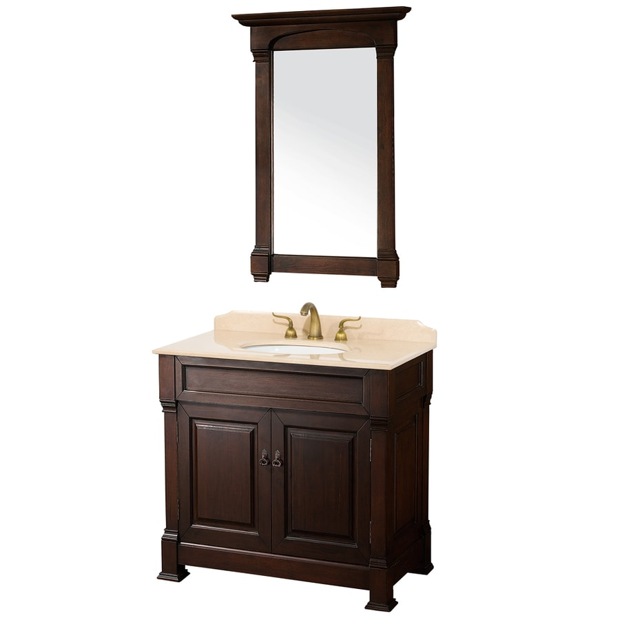 Wyndham Collection Andover Cherry Undermount Single Sink Bathroom Vanity with Natural Marble Top (Common: 36-in x 23-in; Actual: 36-in x 23-in)