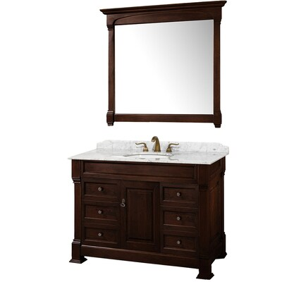 promo code 1ddcb 1a9c6 Andover 48-in Cherry Single Sink Bathroom Vanity with White Carrera Natural  Marble Top and Mirror