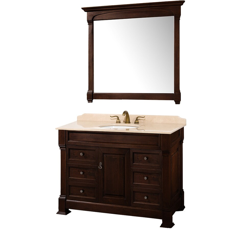 Wyndham Collection Andover Cherry Undermount Single Sink Bathroom Vanity with Natural Marble Top (Common: 48-in x 23-in; Actual: 48-in x 23-in)